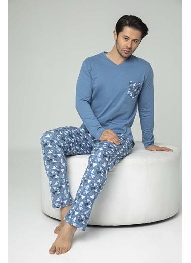 Aydoğan Erkek Süprem Mavi Altı Desenli Üstü Düz Cep Baskılı  Pijama Takımı Renkli